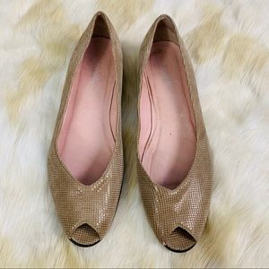 AMALFI Size 11 leather peep toe flats tan
